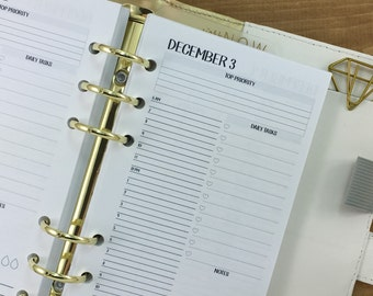 Personal Day on One page printed planner calendar [QUARTERLY] - Do1P - dailies - daily - hourly appointment - undated - Personal Wide