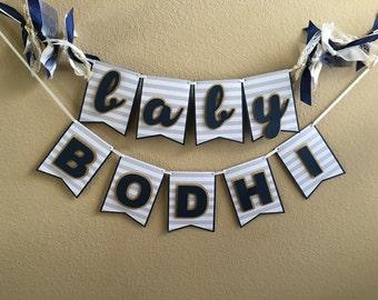 Baby Name Banner - Navy, gold glitter, white & gray