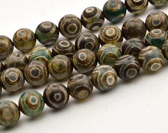 15 INCH Dzi beads, Tibetan beads, brown agate beads, eye pattern,8mm tibetan agate round