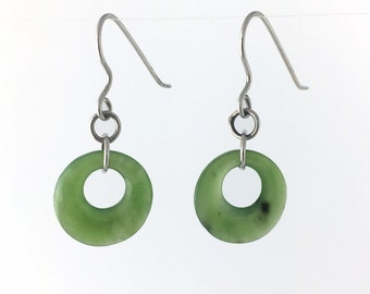 """Nephrite Jade Earrings Special Silver Tone - 10% off - Promo Code """"SUMMER17"""""""