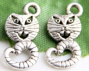 Silver cat charm Alice In Wonder land charms 10 charms