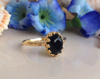 20% off-SALE!! Black Onyx Ring - Stacking Ring - Genuine Gemstone Ring - Gold Ring - Bezel Ring - Stackable Ring - Black Ring - Onyx Jewelry