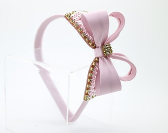 Light Pink Bow Headband, Girl's Headband, Toddler Headband, Light Pink Hard Headband, Bow Headband, Flower Girl Headband, Headband, 1449