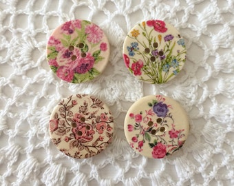 Flower Buttons, Set of 4, Rose Buttons, Wood Buttons