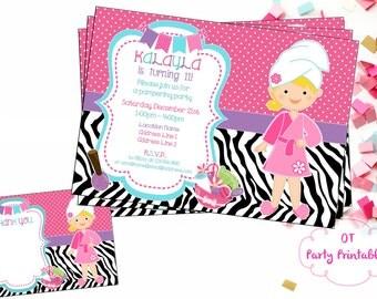 Spa Birthday Invitation - Digital Invitation - You Print - Custom Spa Invitation - Pampering Party Invitation - Spa Zebra Invite