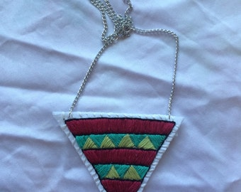 Burgundy, Green, and Teal Hand Embroidered Pendant Necklace