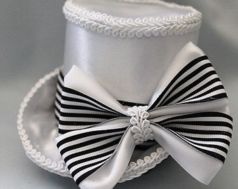 "Bridal Wedding Mini Top Hat ""The Mary Beth"" Fascinator"