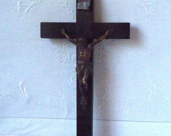 """Vintage Wood and Brass Crucifix Christian Devotional Religious 11"""" x 5 1/2"""""""