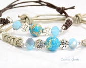 Blue Jasper bracelet, leather stone jewelry, Women gift, boho chic, Handmade bracelet, heal stone Jasper, Sky blue stone, Zen Yoga bracelet