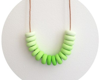 Granny Smith - Lime Green Handmade Polymer Clay Bead Necklace