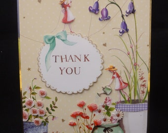 Flowery 'Thank You' Handcrafted 3d Decoupage Card - Lovely design for Looking after the plants or garden