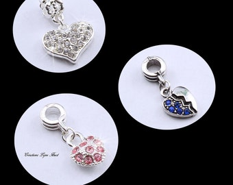 Charms of heart shapes, 3 models available Strass set with different colors !