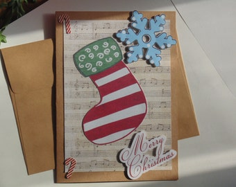 Handmade Christmas Card Stocking Snowflake Merry Christmas