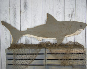 Shark Wood Decor Shark Decor Beach Wall Decor Beach House Decor Shark Sign Shark Week Pool Decor Wooden Shark Beach Decor Great White Shark