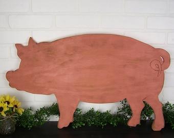 Country Pig Decor Wooden Pig Sign Farm Decor Pig Kitchen Decor Pig Wall Decor Farm Animals Farm Sign Pig Wall Art Pig Art Farmhouse Decor