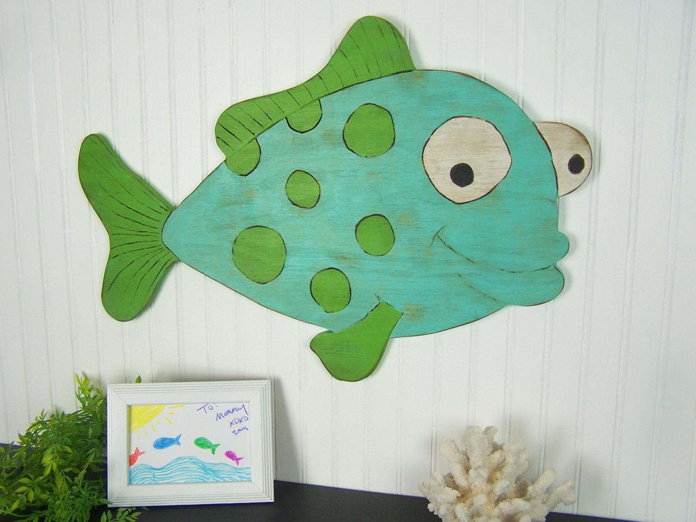 Wooden fish sign kids room wall decor fish decor under the sea for Wooden fish wall decor
