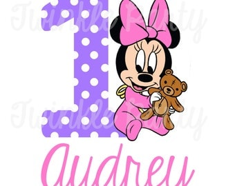 Personalized Baby Minnie Mouse Digital Image for T shirt, Printable Iron On Transfer, Sticker custom Birthday Shirt image