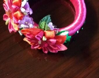Handmade Pink Floral Bracelet