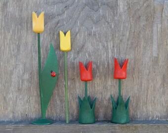 Scandinavian Vintage Wooden Tulip Set of 4 Table Decor Handmade