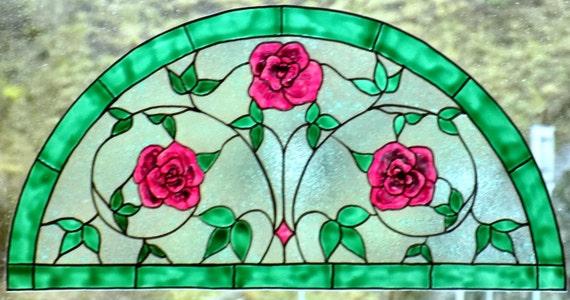 Wicoart Sticker Window Cling Stained Glass Vitrail Half Round