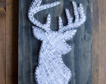Deer Head String Art, Wildlife Decor, Wood Wall Art, Rustic Wood Decor, Nature Art, Home Decor