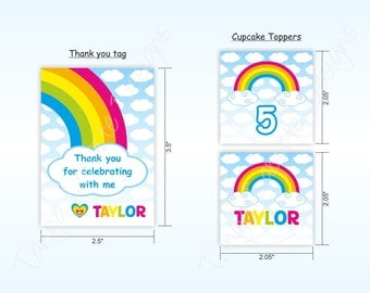 Rainbow Party - Thank you Tags & Cupcake Toppers - printable party decor - digital file