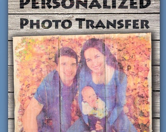 Personalized wood photo transfer; custom recycled wood 8 x 10 picture