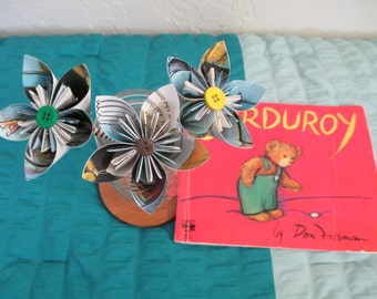 Origami flowers made from Corduroy pages-- Don Freeman--theme--childrens book gift--baby shower-birthday-teacher gift