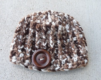 Newborn Ribbed Beanie--Brown Multi