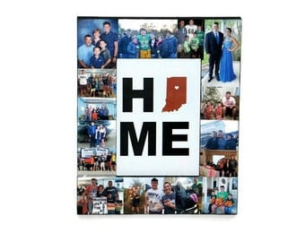 Home State Picture Frame Collage, Photo Frame, Moving Gift, Home is where the Heart is Frame, Ohio Family established frame Burlap print