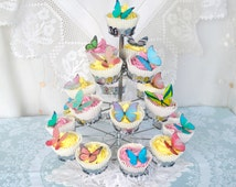 Edible Butterflies Multicoloured Wafer Rice Paper Mixed Rainbow 3D Butterfly Wedding Cake Decorations Birthday Party Cupcake Cookie Toppers