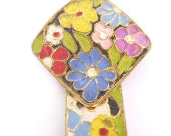Vintage Art Deco Czech Enamel Flower  Dress Clip