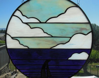"Round Stained Glass Panel -- ""Come Sail Away"""