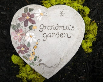 "Engraved Stepping Stone, Garden Decor, Handmade Garden Paver, ""Grandma's Garden"" Stepping Stone, All-Natural Mosaic Stepping Stone, Mom Gift"