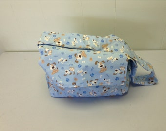 blue puppy diaper bag