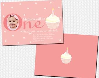 Birthday Girl Invitation / 1st Birthday Girl Invitation / Birthday Photo Invitation