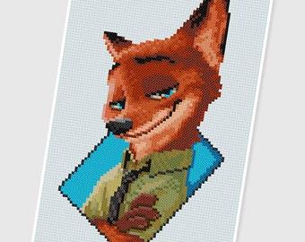 PDF Cross Stitch pattern - 0071.Nick Wilde ( Zootopia ) - INSTANT DOWNLOAD