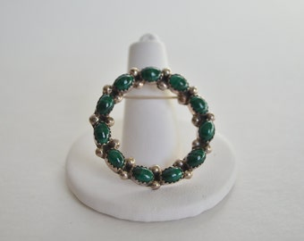 Vintage Sterling Silver Malachite Bead Wreath Brooch Pin