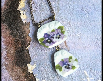 Handmade broken china blue pansies OOAK necklace