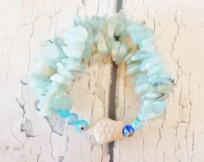 Aquamarine Stretch Bracelet ~ Gemstone Chip Ocean Themed Jewelry ~ March Pisces Birthday Gift, Flower Girl Wristband for Beach Wedding