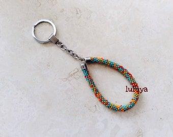 Nepal Beaded Bead Handmade Keychain Key Fob Wristlets Silver Key Ring