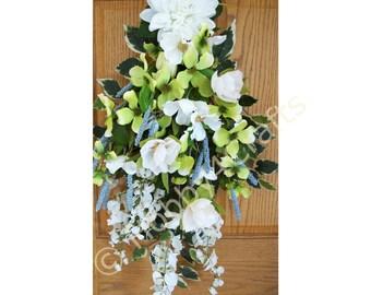 Easter Teardrop Wreath, White Swag, Spring Teardrop Wreath Ready to Ship
