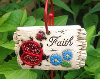 Ladybug Sentiment Flower Pot Stake / Faith / Window Box Garden Decor