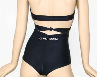 Reversible High Waisted Cheeky Bikini Bottom.  Brazilian High Waisted Bikini Bottom Choose Your Own Color: XS-S-M-L-Xl