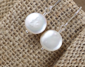 Freshwater Coin Pearl Earrings in Sterling Silver, 14Kt Gold or Rose Gold Filled. Natural White Ivory Drop Earrings. Bead Dangle Earrings