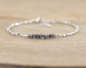 Rough Diamond Sterling & Karen Hill Tribe Fine Silver Bracelet. Thin Beaded Stacking Bracelet. Dainty Gemstone Jewelry. Delicate Jewellery