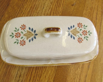 International Stoneware Cottage Chic Butterdish