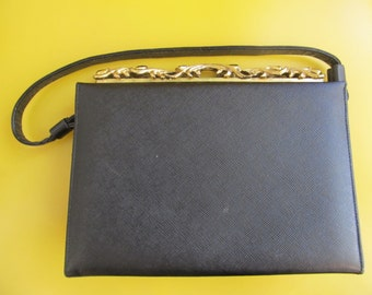 Black Leather and Rhinestone Evening Purse by Caprice