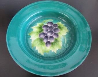 Vintage Enamel Bowl Grapes Design