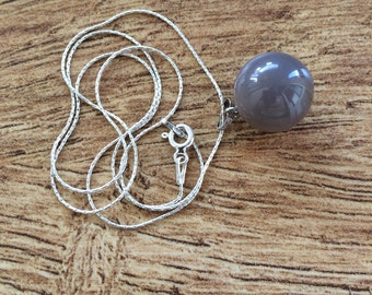 Grey Ball Pendant Necklace, Sterling Silver Necklace, Grey Stone Pendant, Layering Necklace